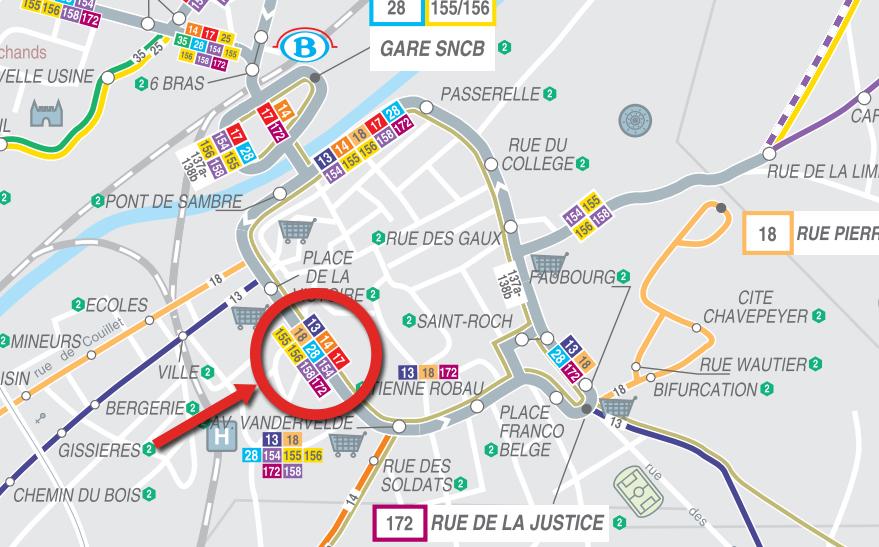 Arriver en bus à l'Athénée Royal Pierre Paulus de Châtelet, ecole primaire et secondaire, secondaire général et technique, section plasturgie